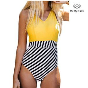Yellow V Neck and Striped Bottom One Piece